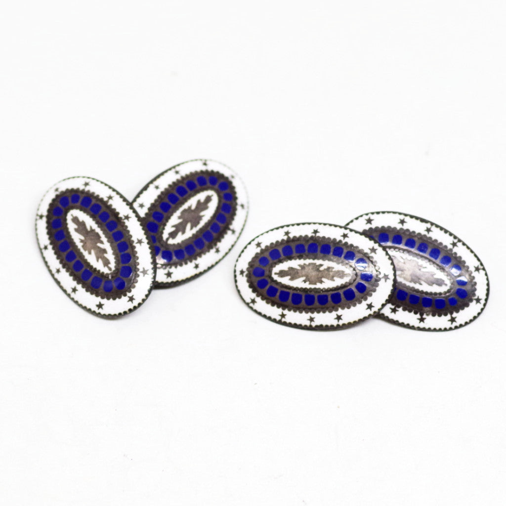 Stunning Blue and White Enamel on Silver Cufflinks