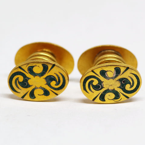 Green Swirl Snap Cufflinks