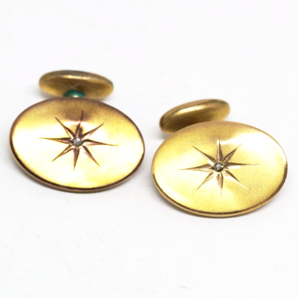 14k Gold Bean Back Cufflinks w/ Diamonds