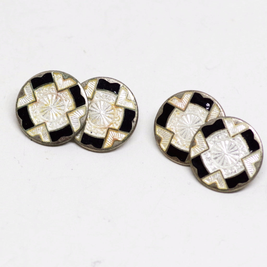 Black and White Enamel Cufflinks