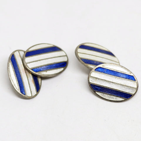 Blue and White Striped Enamel Cufflinks
