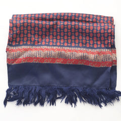 Teardrop Red and Navy Silk Scarf