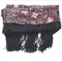 Wild Pink and White Rayon Scarf w/ Extra Long Fringe