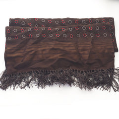 Brown and Red Geometric Rayon Scarf