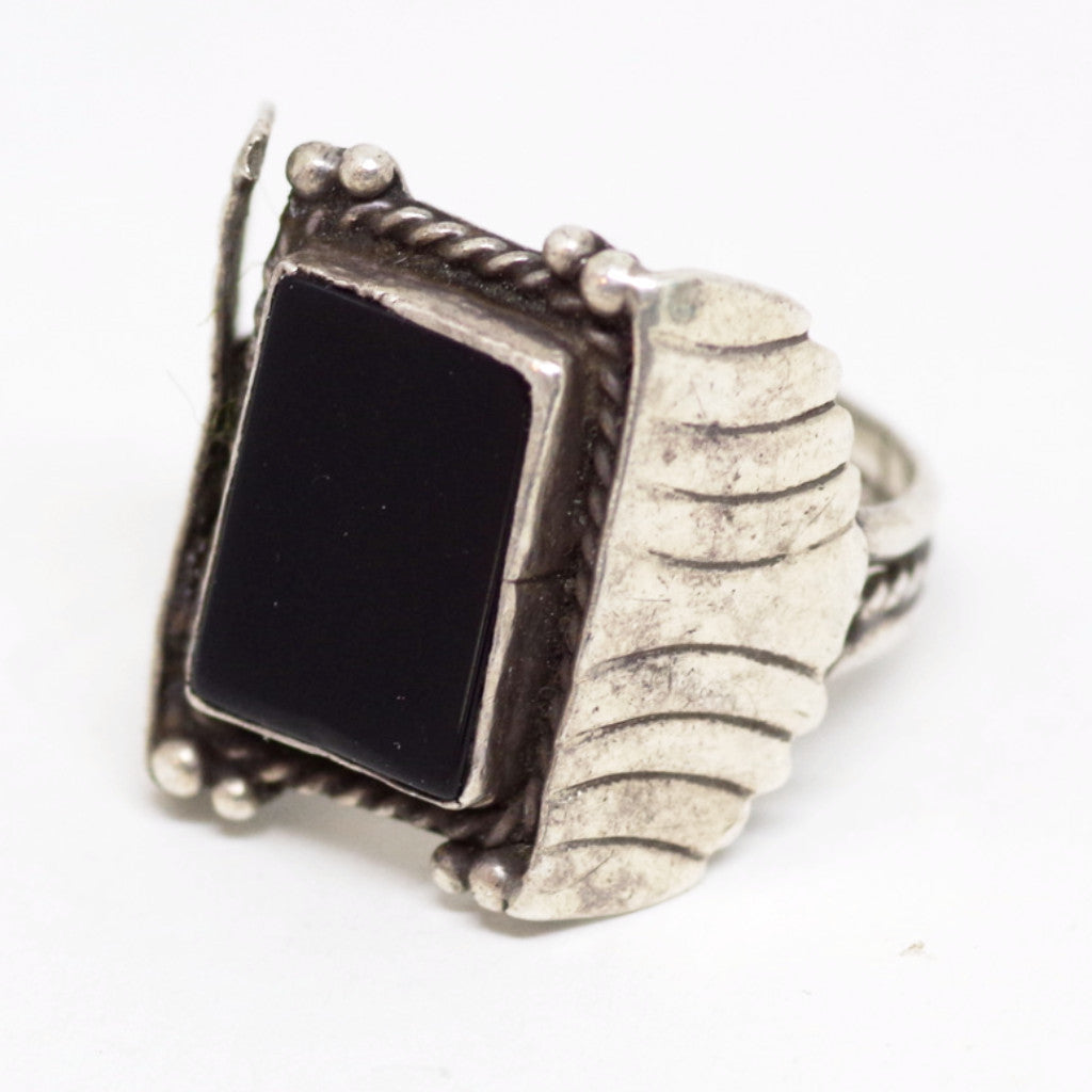 Vintaged Winged Black Gem Sterling Ring