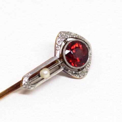 14k Gold Stick Pin w/ Red Topaz and Pearl