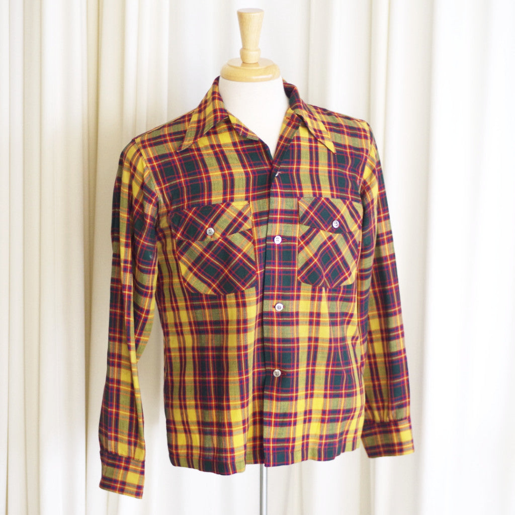 Vintage Arrow Red, Yellow, and Green Plaid Wool Shirt- S/M