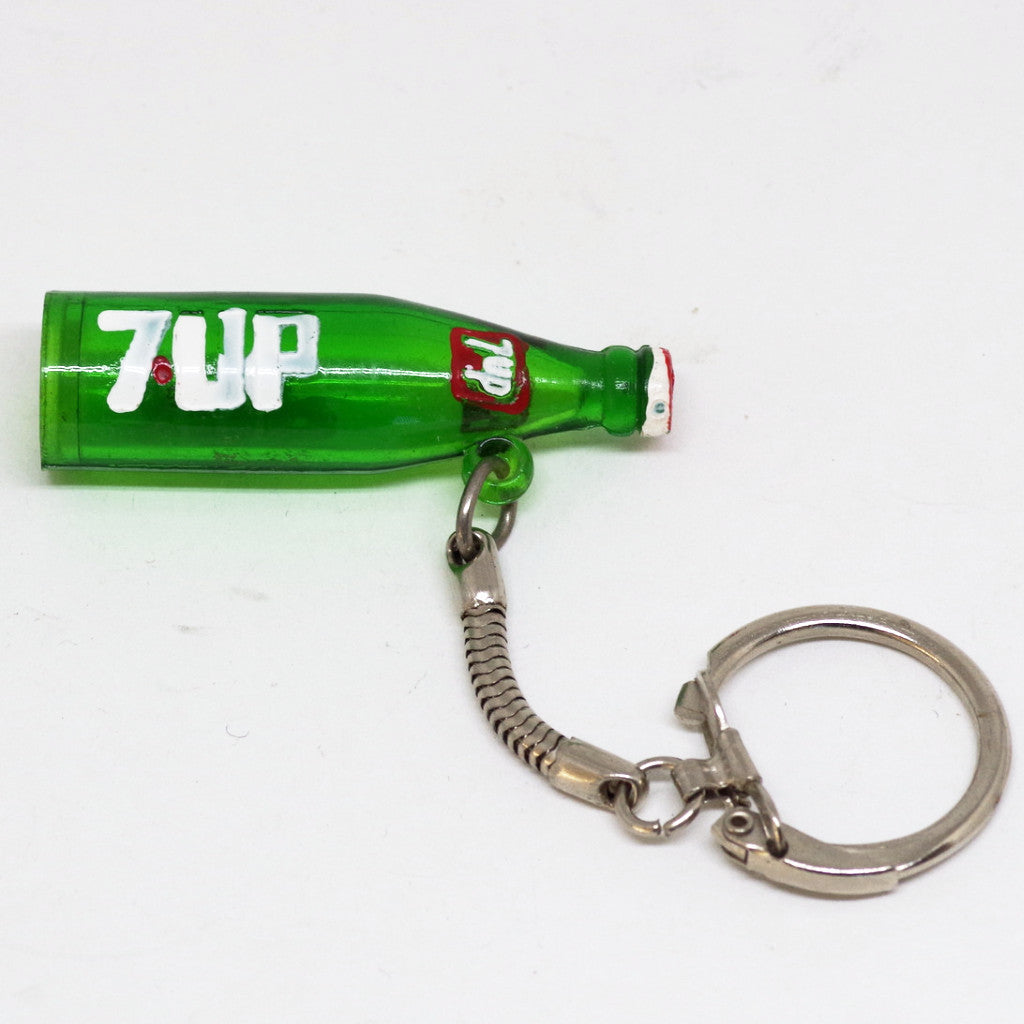 Hand-painted 7-Up Bottle Keychain