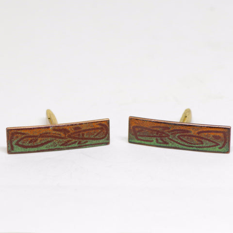 1960s Orange and Green Enameled Cufflinks