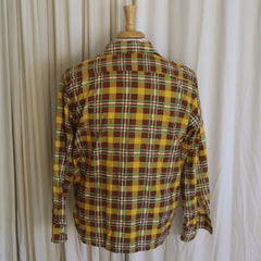 1940s Cotton Flannel Yellow, Brown, and Green Check Shirt- L