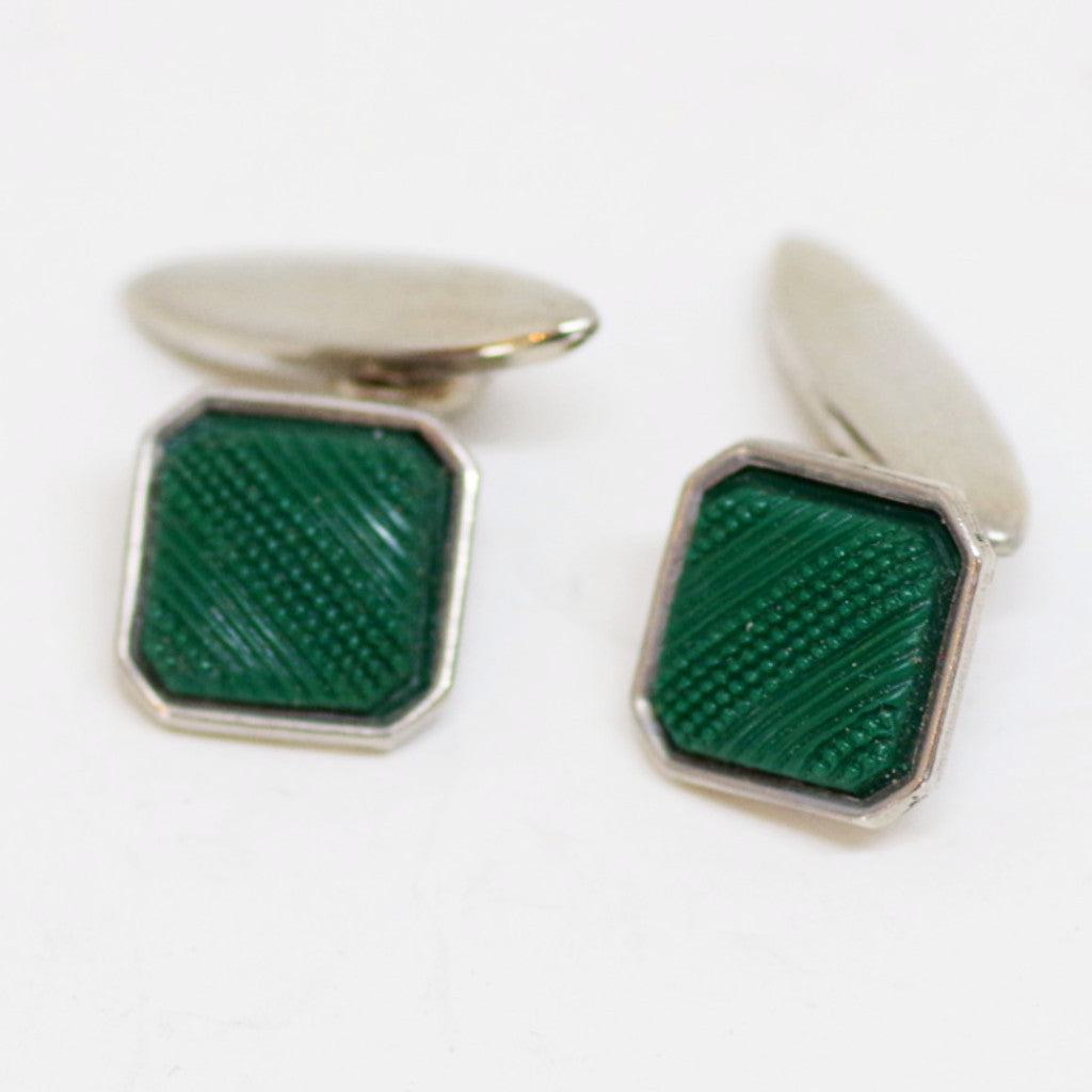 Green Embossed Cufflinks