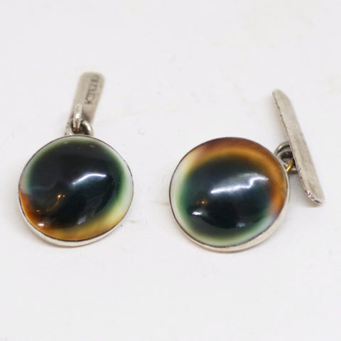 Silver-Mounted Operculum Brown and Green Silver Cufflinks