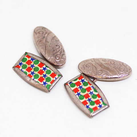 Funky Red, Blue, and Green 1930s Cufflinks
