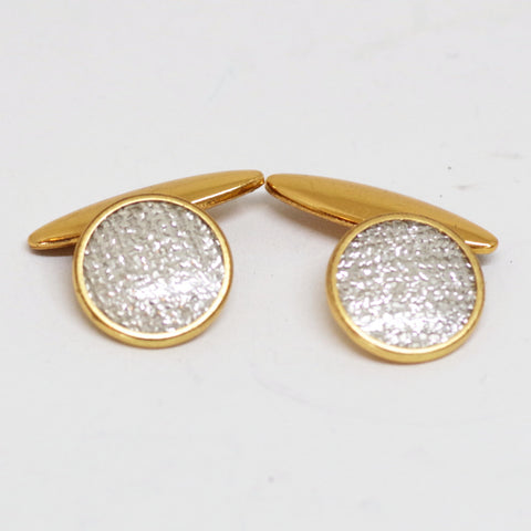 English Gilt Silvery Glittering Cufflinks