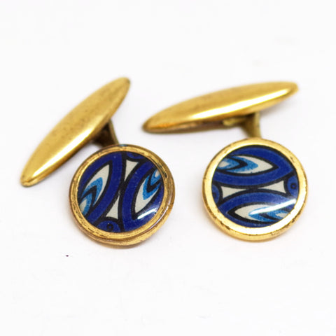 1930s English Gilt Blue Flame Cufflinks
