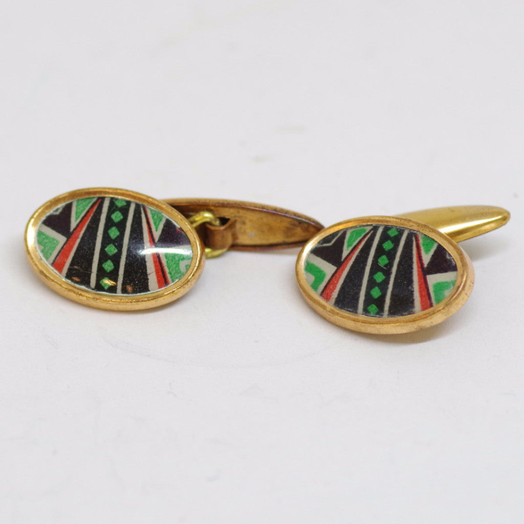 1930s English Art Deco Gilt Black, Red, and Green Cufflinks