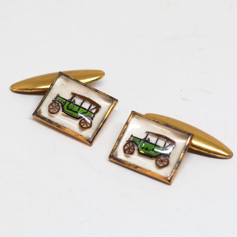 1930s English Horseless Carriage Cufflinks