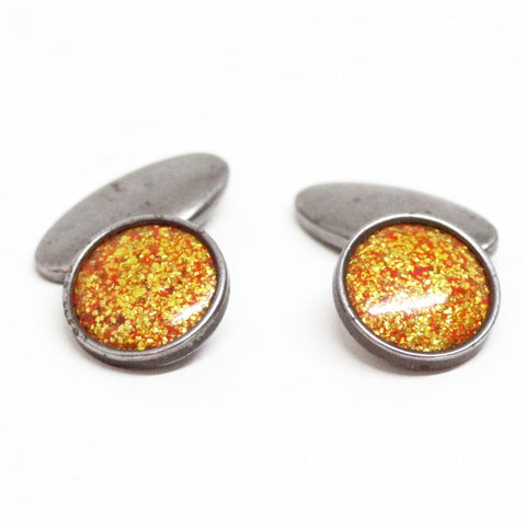 1950s English Glittering Golden Cufflinks