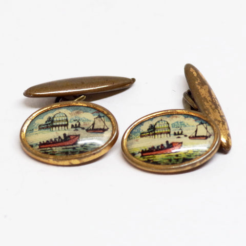 1930s English Gilt Harbor Scene Cufflinks