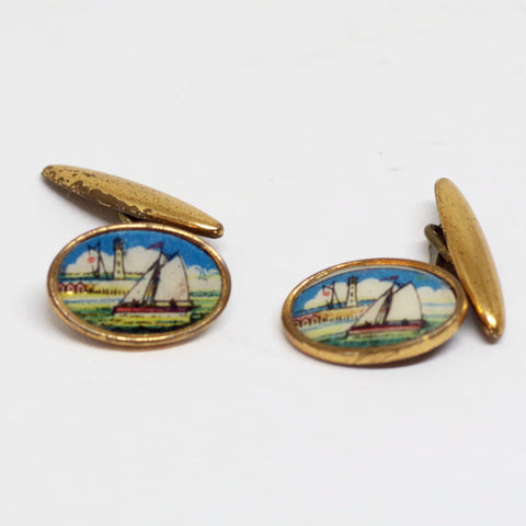 1930s English Gilt Sailing Vista Cufflinks
