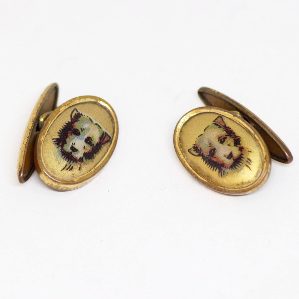1930s English Gilt Puppy Portrait Cufflinks