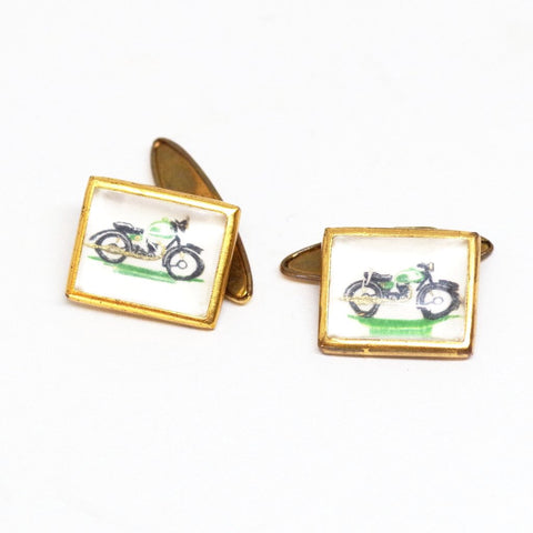 1930s English Green Motorcycle Cufflinks