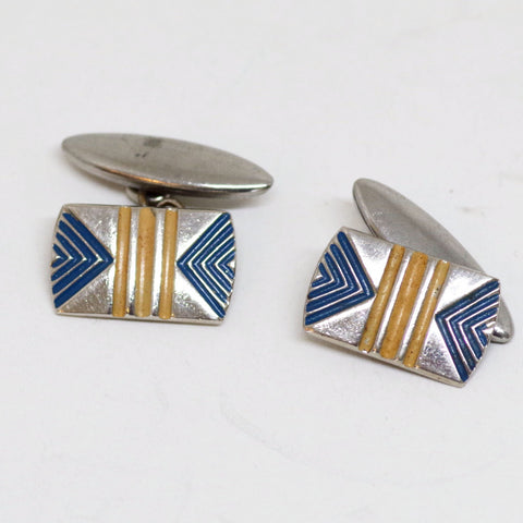 Art Deco Tan and Aqua Enamel Cufflinks