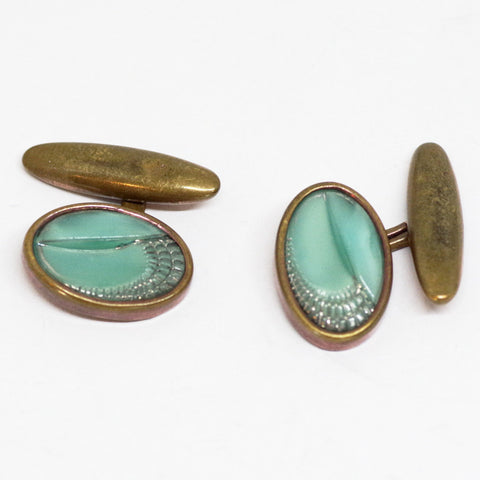 1930s English Etched Turquoise-Colored Cufflinks