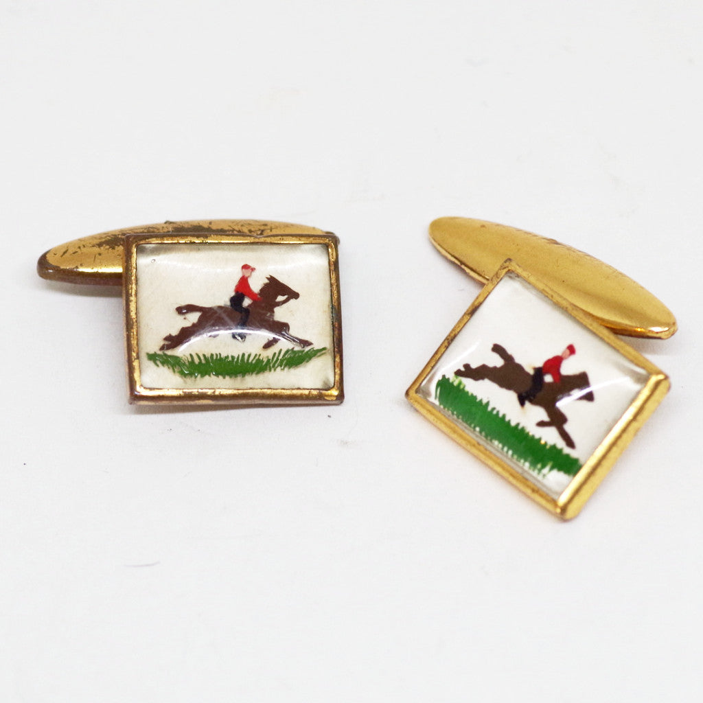 1930s English Square Jockey Cufflinks