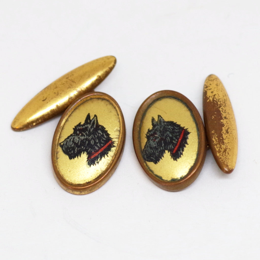1930s English Gilt Golden-Backed Scotty Dog Cufflinks