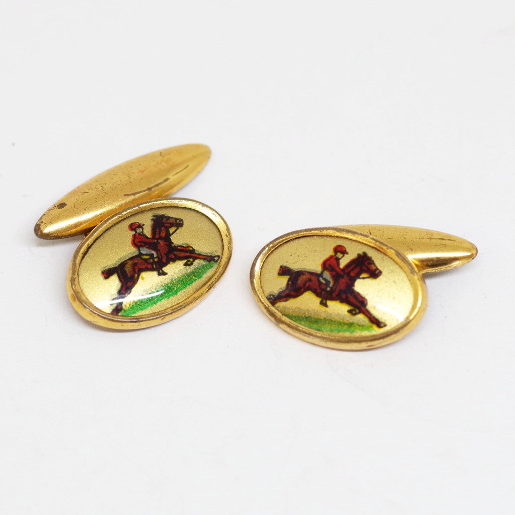 1930s English Gilt Jockey Cufflinks