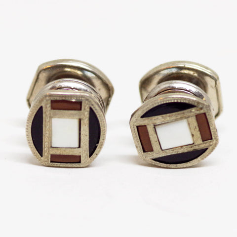 Black, White, and Brown Snap Cufflinks