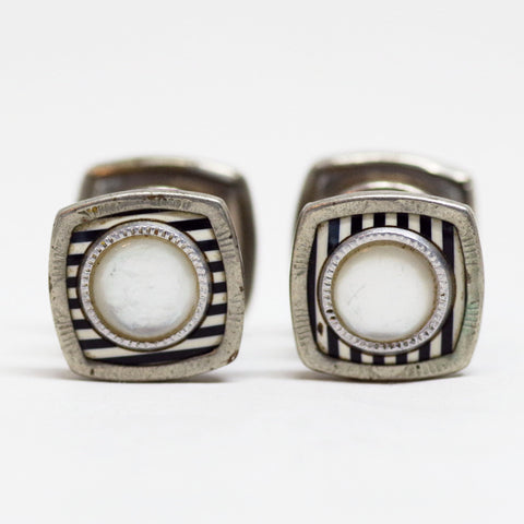 Black and White Striped Snap Cufflinks