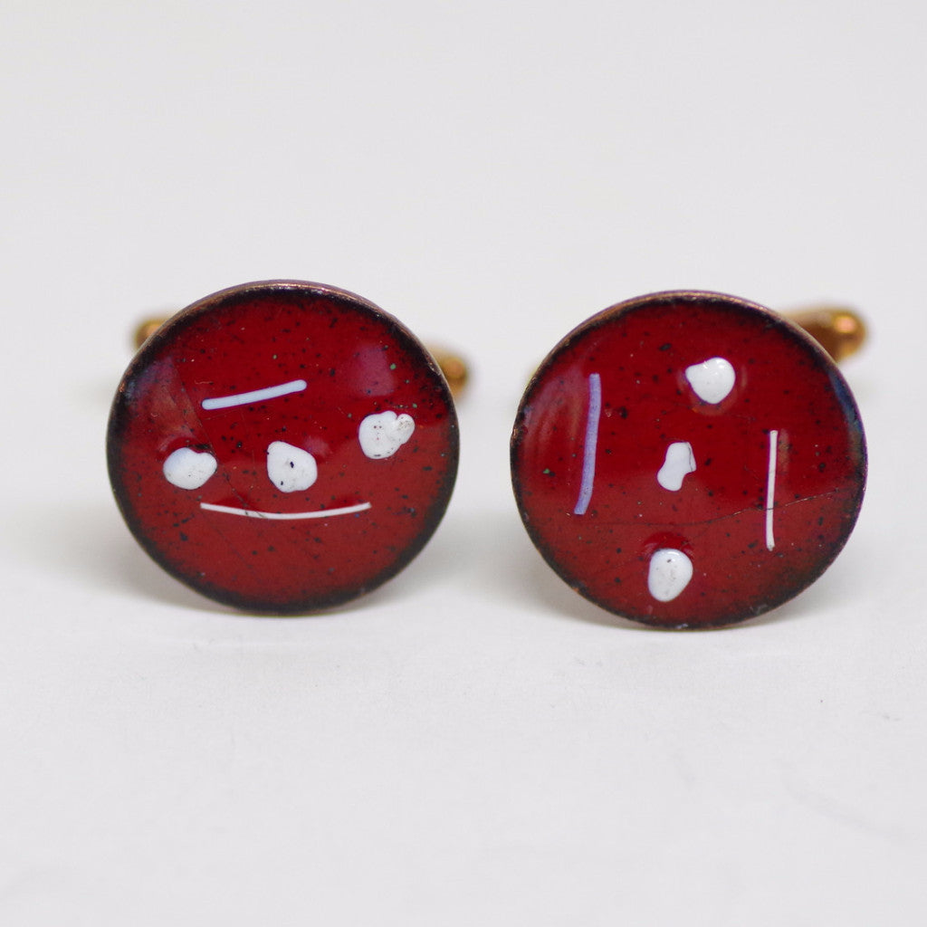 Hand Enameled Vintage Red and White Enamel Cufflinks