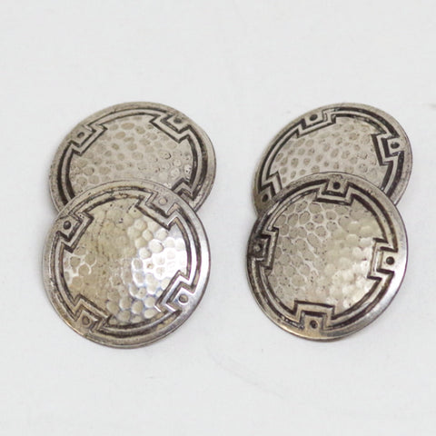 Lattice and Black Bordered Sterling Cufflinks