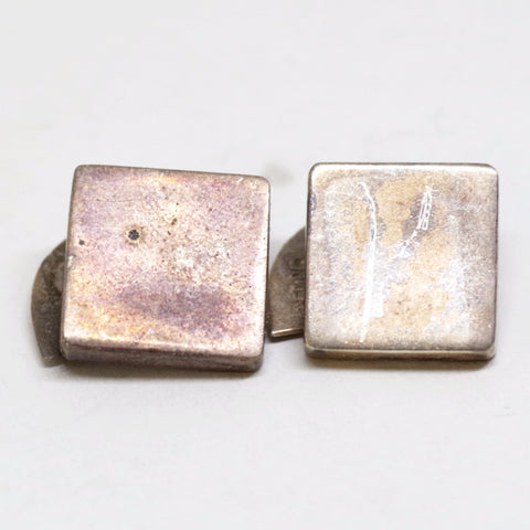 Square and Pointed Oval Modernist Sterling Cufflinks