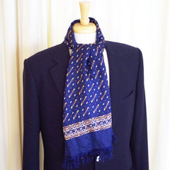 Vintage Blue and Gold Buckle and Chain Silk Scarf
