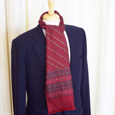 Red Ancient Madder Silk and Wool Scarf