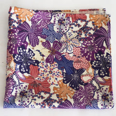 Brilliant Purple and White Floral Print Cotton and Wool Pocket Square