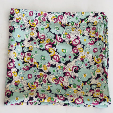 Bouncy Sea-foam Green Floral Rayon Pocket Square by Put This On