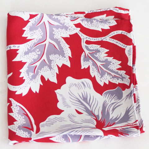 Bright Red and White Tropical Print Rayon Pocket Square by Put This On