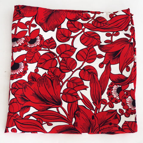 Rich White and Red Tropical Rayon Pocket Square by Put This On