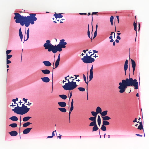 Joyful Pink and Blue Flower Print Rayon Pocket Square by Put This On