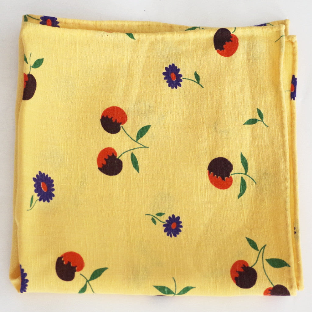 Sunny Fruits & Flowers Yellow Rayon Pocket Square by Put This On