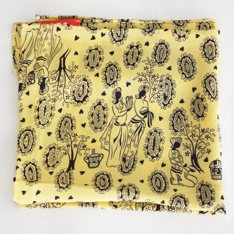 Placid Yellow Garden Scene Rayon Pocket Square by Put This On