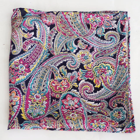Brilliant Paisley Multicolor Rayon Pocket Square by Put This On