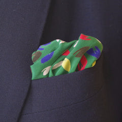 Vibrant Multicolor Green Rayon Pocket Square by Put This On