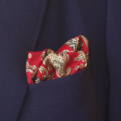 Classical Red and Yellow Rayon Pocket Square by Put This On