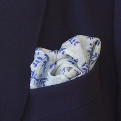 Delicate White and Blue Floral Rayon Pocket Square by Put This On