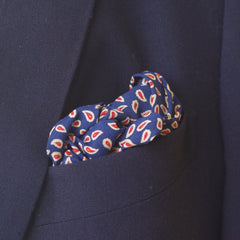 Busy Little Navy and Red Paisley Rayon Pocket Square
